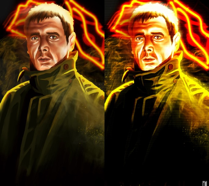 I've remixed my blade runner image, to develop a new style. I've done the same with stealth to see how it looks.