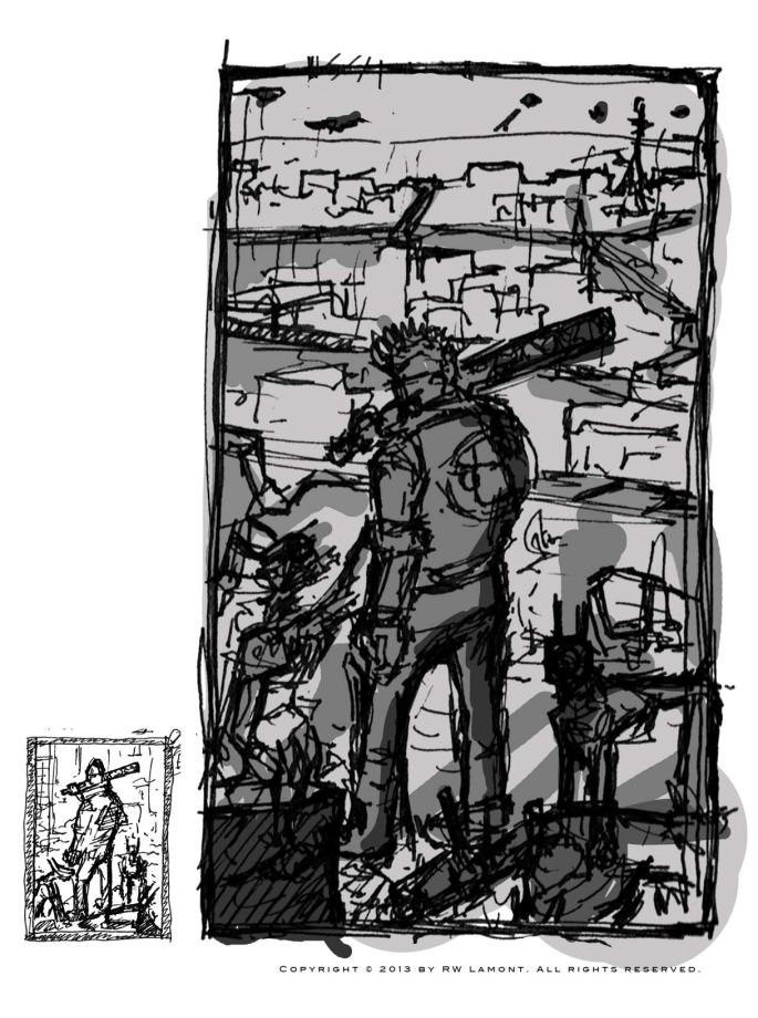 Development art for my character Nico and the dobermechs. He is on a rooftop with a ruined paris of the future in the background.